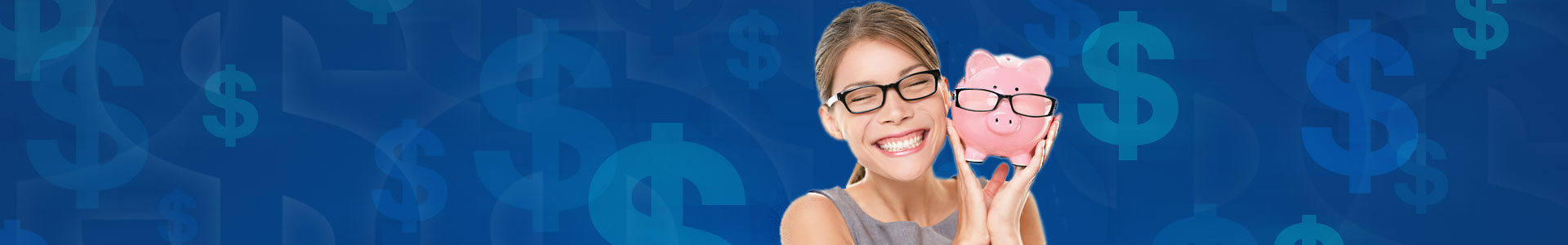 woman smiling holding piggy bank